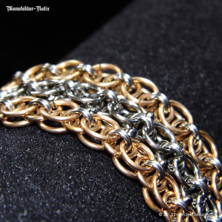 Helm Chain Bracelet -  Helm Ketten Armband in Bronze und Edelstahl